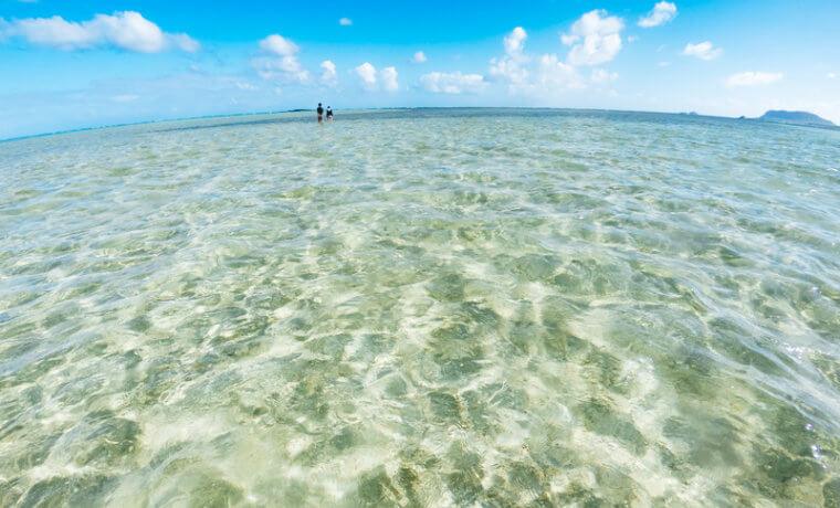 綺麗な海で遠くを歩くカップル
